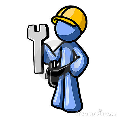 Free Blue Man Wearing Hard Hat Royalty Free Stock Images - 3308399