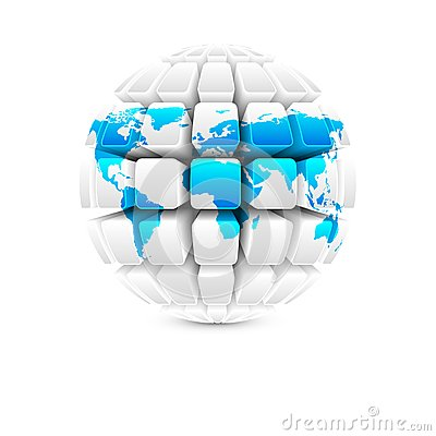 Blue map on white globe