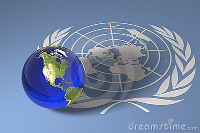 Blue marble and UN flag