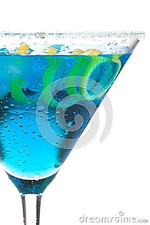 Free Blue Martini With Lemon Spiral Royalty Free Stock Image - 12774206