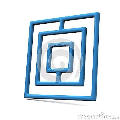 Blue maze icon 3d