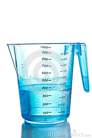 Blue measuring cup filled with water