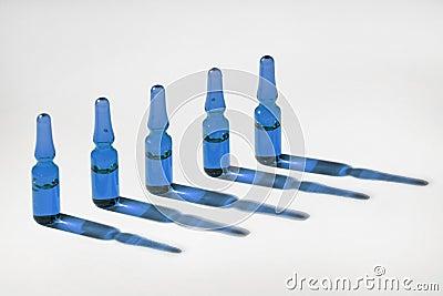 Blue medical phials
