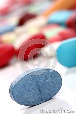 Blue medicine pill