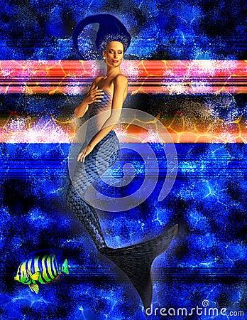 Blue Mermaid Swimming