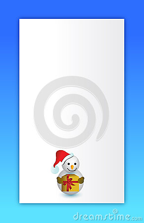 Blue Merry christmas snowman card
