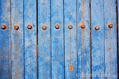 Blue metal fence