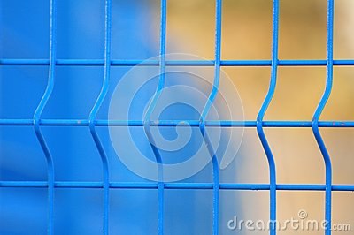 blue metal fence close up