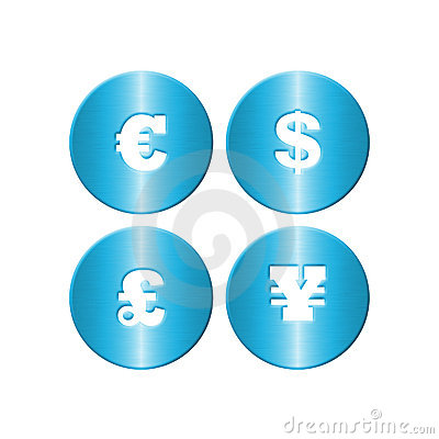 Blue Metal Money Symbols