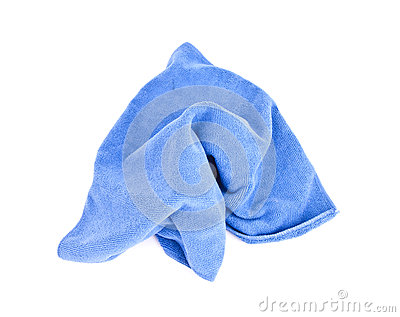 Blue microfiber cloth.