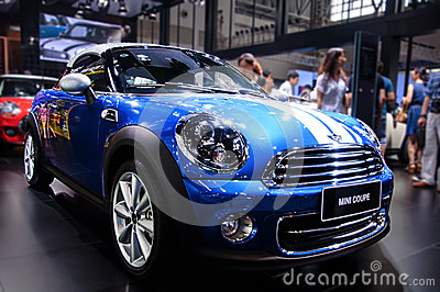 A blue Mini Coupe Editorial Stock Photo