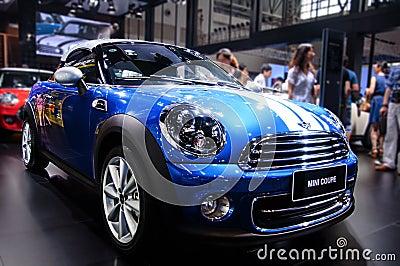 A blue Mini Coupe Editorial Stock Photo