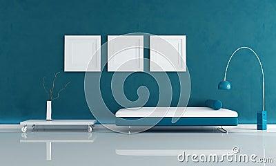 Blue minimal living room