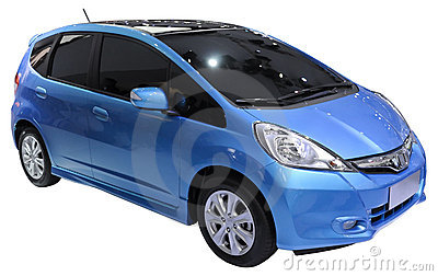 blue minivan isolated