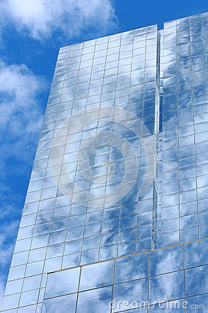 Blue mirror glass building, exterior building