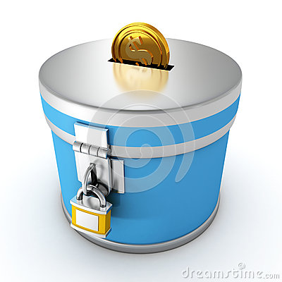 Blue moneybox with padlock and golden dollar coin