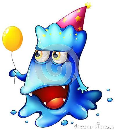 A blue monster celebrating