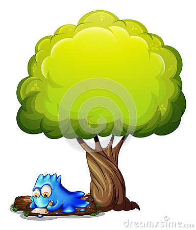 A blue monster writing a letter under the tree