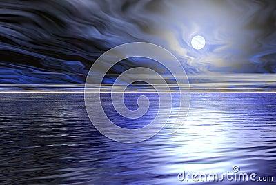 Blue moon sea scape