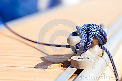 Blue mooring rope on ship