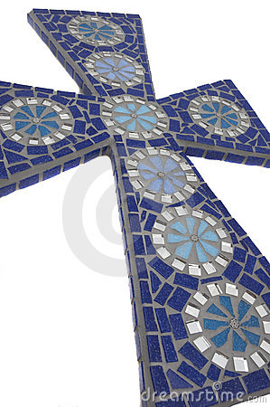Blue mosaic cross with white background