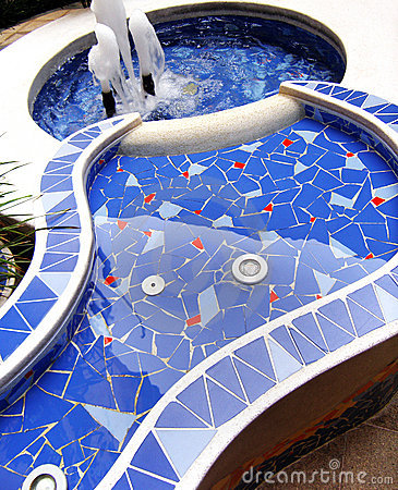 Blue mosaic fountain