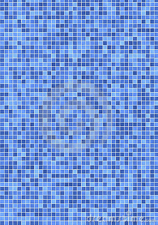 Bathroom Wall With Small, Light And Darker Blue Mosaic Tiles.
