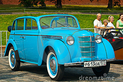 Blue Moskvich (vintage car USSR) Editorial Stock Image