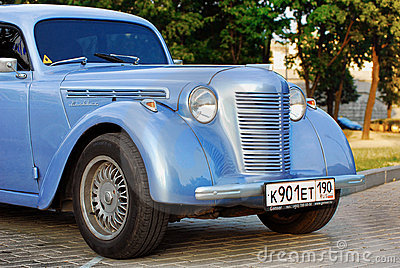 Blue Moskvich (vintage car USSR) Retro Car  Editorial Stock Photo
