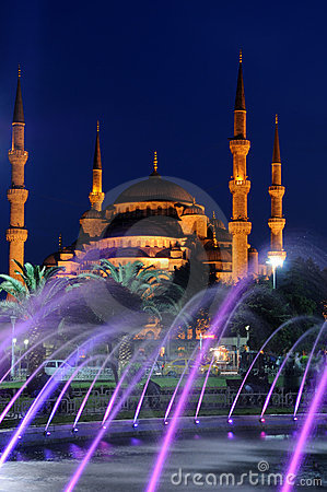 Free Blue Mosque And Fountain Stock Photography - 15254372