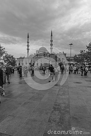 Blue Mosque in black and white Editorial Stock Photo