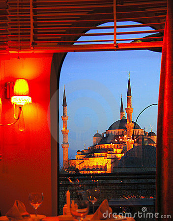 Free Blue Mosque From A Restaurant Window Royalty Free Stock Images - 4626349