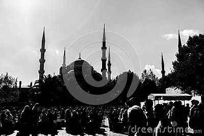 Blue mosquee in black and white Editorial Stock Photo