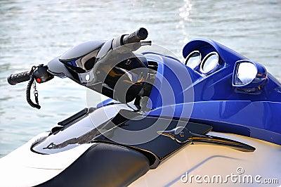 A blue motor boat