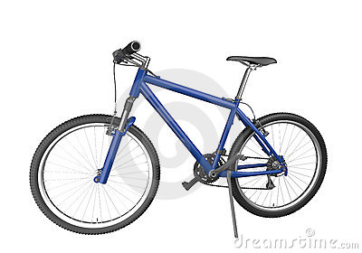 Blue mountain bike isolated