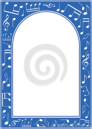 Blue music arch frame with white center