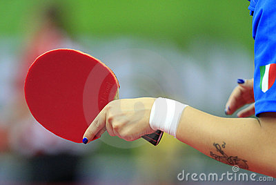 Blue nails in table tennis Editorial Image
