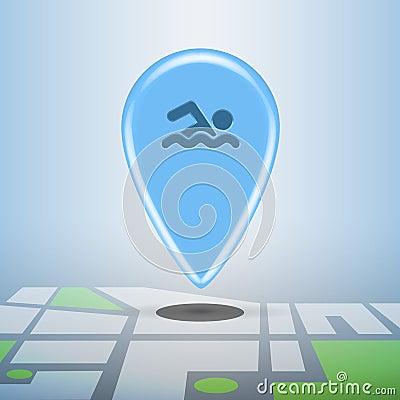 Blue navigation sports pin