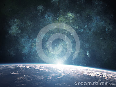 Blue Nebula with Planet