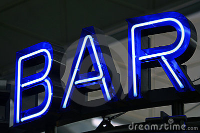 Blue Neon Advertising Bar
