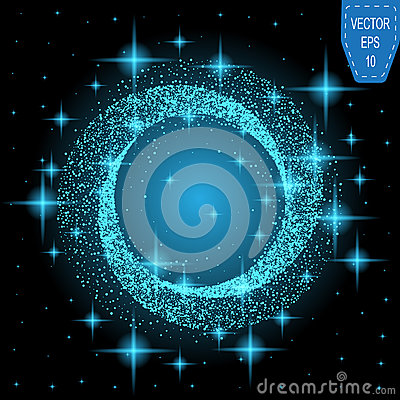 Free Blue Neon Magic Glowing Light. Glow Swirl Effect Wave. Royalty Free Stock Image - 82820766