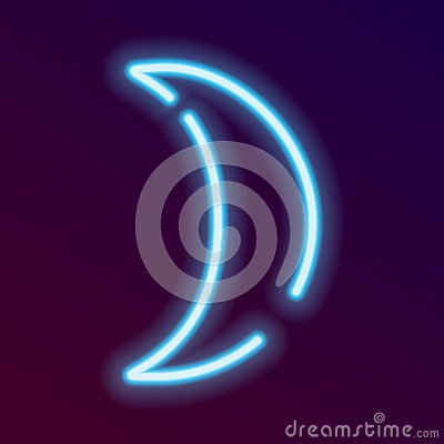 Free Blue Neon Moon Icon For Web Stock Image - 128687901