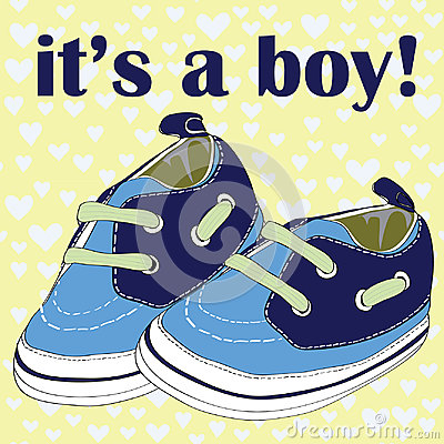 Free Blue Newborn Shoes For Boy. It& X27;s A Boy! Vector Illustration On Blue Hearts On Yellow Pattern Background Stock Photos - 96213573