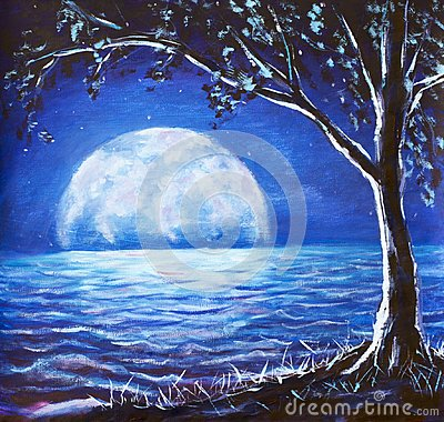 Free Blue Night Sea Oil Painting - Dark Tree On Background Large Glowing Moon Reflected In Sea Waves - Fantasy Art Illustration Stock Photos - 110114113