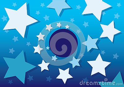 Blue Night Sky with pattern White Stars and Dots. Vector illustration Cartoon Illustration