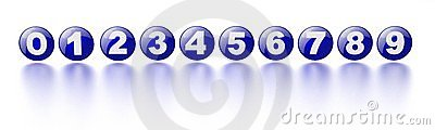 Blue numbers 0-9