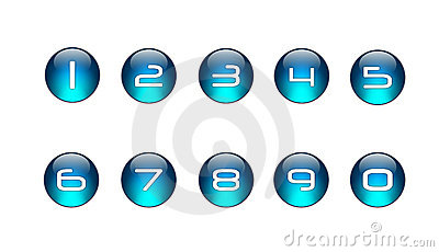 Blue Numbers Icons Set [01]