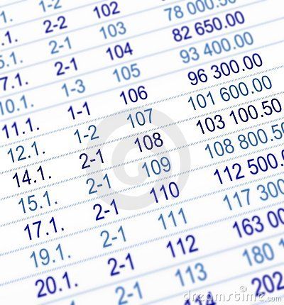 Blue numeric table background