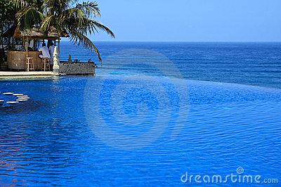 Blue Ocean With Swimming Pool of Luxury Hotel Editorial Stock Image