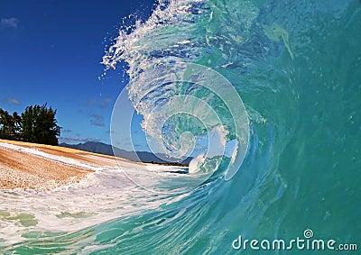 Blue Ocean Wave on the Beach